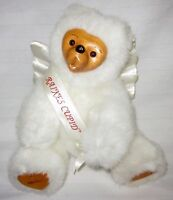 """Robert Raikes Cupid Angel Wings White 11"""" Bear Cub W Wooden Face & Feet Jointed"""