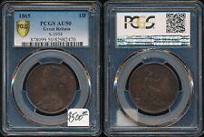 1865 GREAT BRITAIN QUEEN VICTORIA PENNY >PCGS *CAT VALUE $500* BEAUTY > NO RSRV
