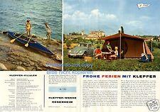 Carpa Klepper folleto V. 1959 faltboot gabardina Rosenheim publicitarias camping ad