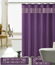 15 Piece Charlton Embroidery Banded Shower Curtain Bath Set (Purple)