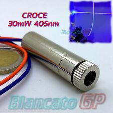 MODULO LASER 30mW 405nm CROCE BLU VIOLA livella allineamento diodo generatore DC