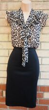 DOROTHY PERKINS BLACK BEIGE ANIMAL PRINT TIE NECK FRILL BODYCON PENCIL DRESS 10