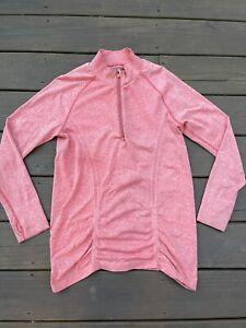Athleta Women's Quarter Zip Running Top pullover Ruched  Shirt Size XL 964083