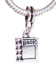 Book Novel Reader Read Journal Writer Dangle Charm for European Bead Bracelets