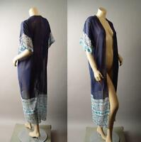 Dark Navy Blue Travel Long Maxi Sheer Coverup Kimono Robe 282 mv Jacket S M L XL