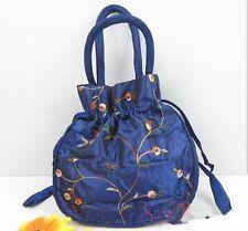 blue Embroider beautiful Chinese Handmade Silk Bag Purse