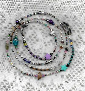 "Handmade Eyeglass Chain~Crazy Mixed Up Colored Beads~Unique~28""~Buy 3 SHIP FREE"