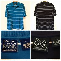 Jos A Bank Shirt Lot of 2 Mens L Large Blue Black White Striped Traveler's Polo