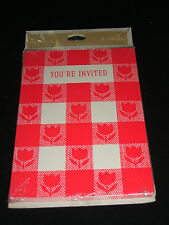 Vintage 1960's Invitations Red & White TULIPS CALICO Pack of 8 HALLMARK NIP!
