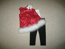 "NEW ""CHRISTMAS MARABOU SEQUINS"" Pants Girls 6m Winter Clothes Outfit Baby"