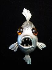 """JJ"" Jonette Jewelry Silver Pewter 'LARGE Eyed Fish' Pin ~ Really CUTE!"