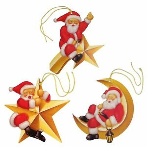 75 Santa Claus on Celestial Star, Moon & Shooting Star Xmas Gift Tags (EW)