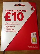 Vodafone New Pack £10 Multi Sim Card Pay As You Go Free Ship 1st Class Post