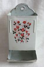 Vintage Metal Match Holder Pink Red Rose Trellis