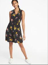 e95f80047dcb Old Navy Women's Waist Defined Sleveless V Neck Polka Dot Floral Dress XS
