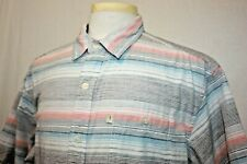 Bob Timberlake Pastel Striped Short Sleeve Button Front Shirt Sz XL Summer Wear