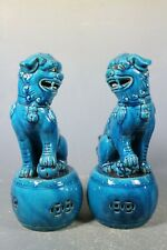 beautiful chinese Turquoise blue glaze porcelain a pair Lion