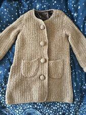 Vintage 100% Wool Hand Knit Crochet Beige Coat Jacket Size M