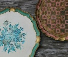Two GORGEOUS vintage hand painted serving trays - perfect for a vintage cafe