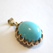 Vintage Persian Turquoise Robin Eggs Blue 14k Yellow Gold Necklace Pendant