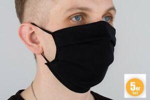 5 Stk schwarz  Mund-Nasen Community Maske Baumwolle Mehrweg Gesichtsmaske Schw.
