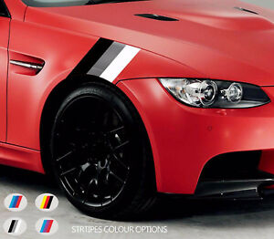 2 x Front Wing COLOURED STRIPES VINYL Decal Sticker Motorsport Graphics