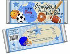 Sports Baby Candy Bar Wrappers - First Birthday or Baby Shower Favors Set of 12
