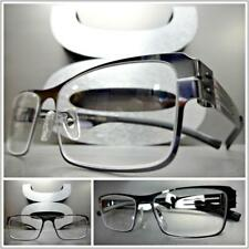 Mens CLASSY SOPHISTICATED Clear Lens EYE GLASSES Rectangular Metal Fashion Frame