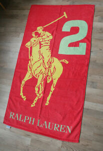 Polo Ralph Lauren Big Pony Logo Bath Beach Towel Red #2
