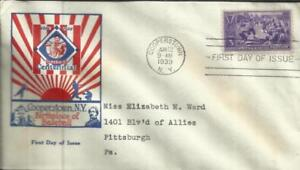 US BASEBALL FIRST DAY Sc#855 1st Leatherstocking Stamp Club Cache
