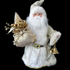 Christmas Tree Topper / Porcelain Santa Claus with White Faux-Fur Trim Costume