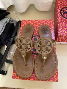 tory burch 8.5 miller saffiano patent sandal royal tan