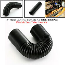 "3"" 76mm Universal Car Cold Air Intake Inlet Pipe Flexible Duct Tube Hose Black"