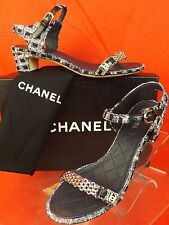 16p CHANEL Navy Tweed Gold Chain CC Pearl Logo Sandals Low Heel PUMPS 38