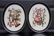 2 Vintage Tin Trays B.Hummel Reproductions, Apple Tree Boy & Girl collectible