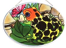 Joan Baker Designs BUTTERFLY & FROG Painted Glass Small Oval Suncatcher 1 Left