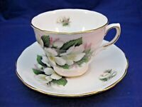 VINTAGE ROYAL OSBORNE TEA CUP & SAUCER - WHITE FLOWERS AND GREEN LEAVES -ENGLAND