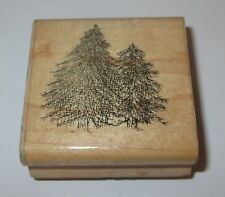 Pine Trees Rubber Stamp Forest D.O.T.S. Woods Wood Mounted Retired