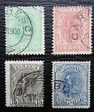 Rumanía mié 113-116, SC 121+123+125+127, el rey Carlos I, con sello
