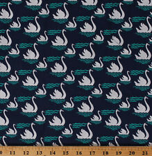 Cotton White Swans Birds Navy Blue Swan Dive Nature Fabric Print BTY M713.20
