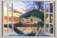 """Etched Glass Look WIDE MOUTH BASS Window Decor 10.5x16/"""""""