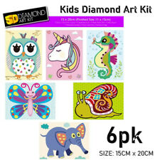 6x Kids Full Drill Diamond Arts Kits DIY Craft Activity Resin Home Room Decor