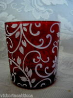 Unusual Collectible Ruby Red Glass w/White Leaves Tealight / Votive