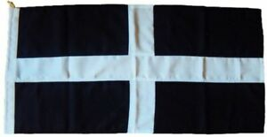 St Piran flag Cornwall Cornish flag traditionally sewn MoD approved woven fabric
