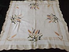 """MODERN MACHINE EMBROIDERED TABLE CLOTH with WHEATSHEAFS -  32"""" by 32"""""""