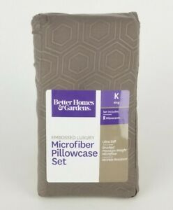 Gray Embroidered Luxury Microfiber 2 Pillowcases King Better Homes & Gardens New