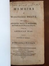 RARE 1798 Revolutionary War Memoirs Maj.Gen. Heath, Military Battles, Boston 1st