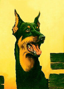 ACEO / Doberman dog / LE Print of Original Painting by Sergej Hahonin