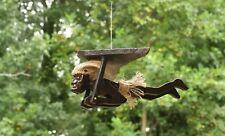 Wood Hand Carved Primitive Paragliding Tribal Statue Tiki Figurine Hang Gliding