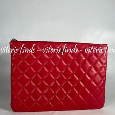 Auth Chanel O Case Red Lambskin Quilted Leather Ipad Tablet Clutch Pouch Bag